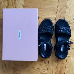 Miu-miu glitter black sandals sz 37.5